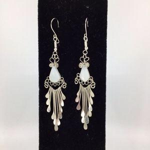 White Onyx Alpaca Silver Peruvian Earrings